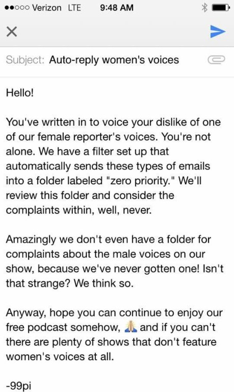 Women's Voice Complaint Reply